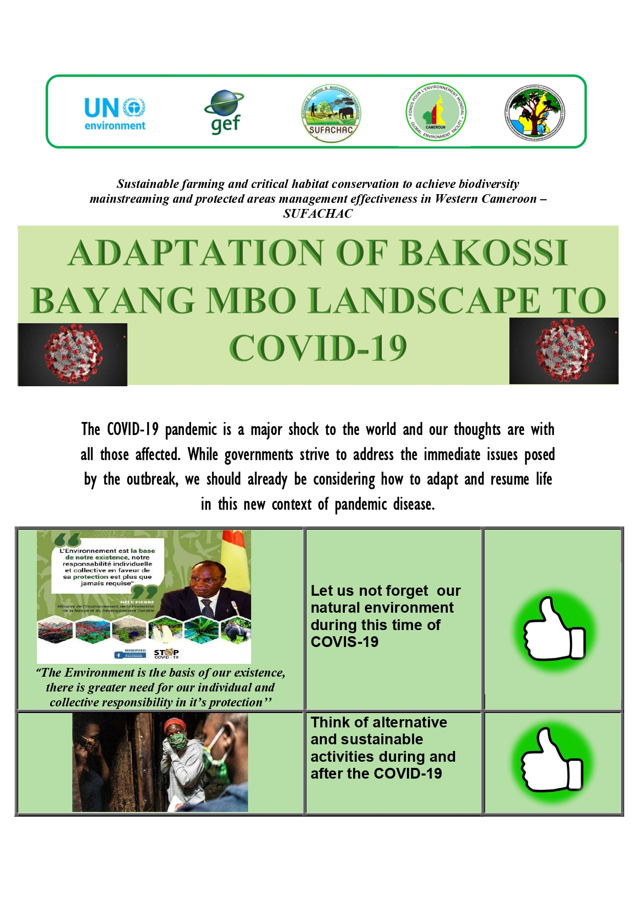 ADAPTATION OF BAKOSSI BAYANG MBO LANDSCAPE TO COVID-19